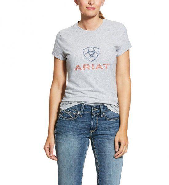 Koszulka damska HD LOGO SS20 - ARIAT - heather grey