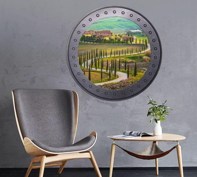 Naklejka okrągłe okno z Toskanią