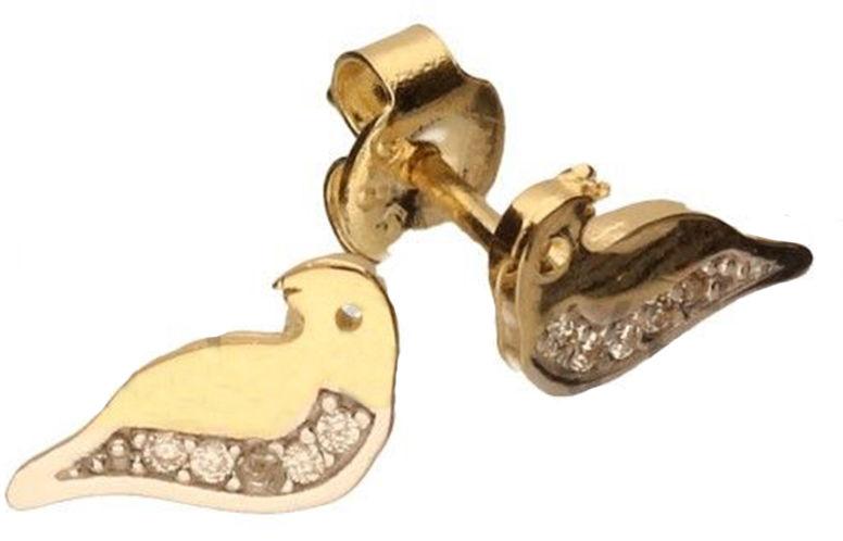 Złote kolczyki dziecięce 585 ptaszek cyrkonie 1,14 g