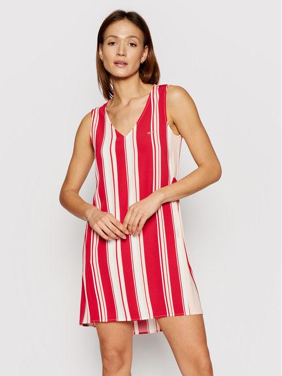 Sukienka codzienna TA1103 T4012 Czerwony Regular Fit