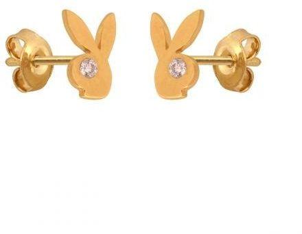 Złote kolczyki na sztyft króliczki Playboya 50639