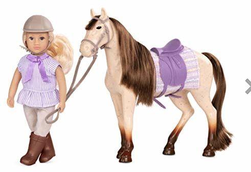 Lori LO31165Z 15 cm lalka do jazdy, majorie z koniem, klonem