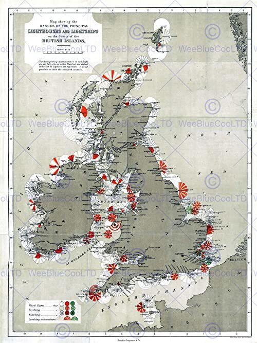 Wee Blue Coo Mapa antyczna 1884 cena latarnie morskie statki świetlne brytyjska wyspa sztuka ścienna druk