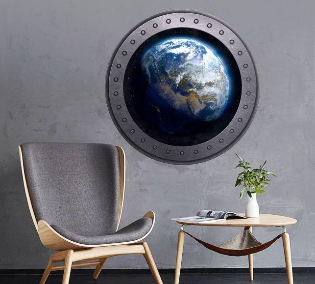 Naklejka okrągłe okno z Ziemią