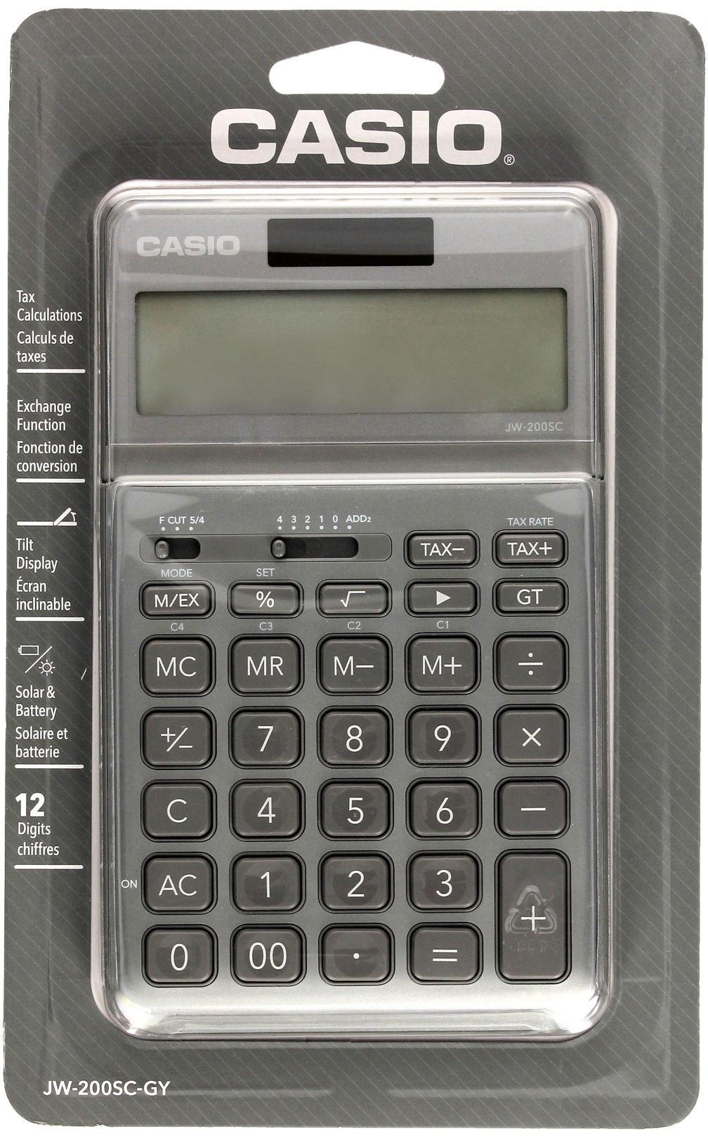 Kalkulator 12-pozycyjny szary JW-200SC-GY-S Casio
