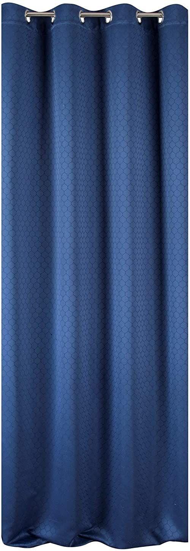 Eurofirany Rivet zasłona żakardowa z oczkami Trend prosta elegancka wysokiej jakości sypialnia pokój dzienny niebieski morski 135 x 250 cm