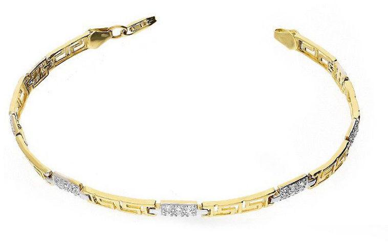 Złota bransoletka 585 grecki wzór cyrkonie 6,50 g