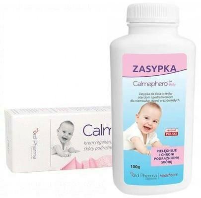Calmapherol Baby krem regenerujący do skóry podrażnionej 60 ml + zasypka dla dzieci 100 g [ZESTAW]