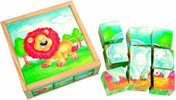 Bino 84174, 9 drewnianych kostek puzzli z 6 motywami dzikich zwierząt. Bloki do wyrzynania dla dzieci od 36 miesięcy. Rozmiar pudełka: 13 x 5 x 13 cm, wielokolorowe