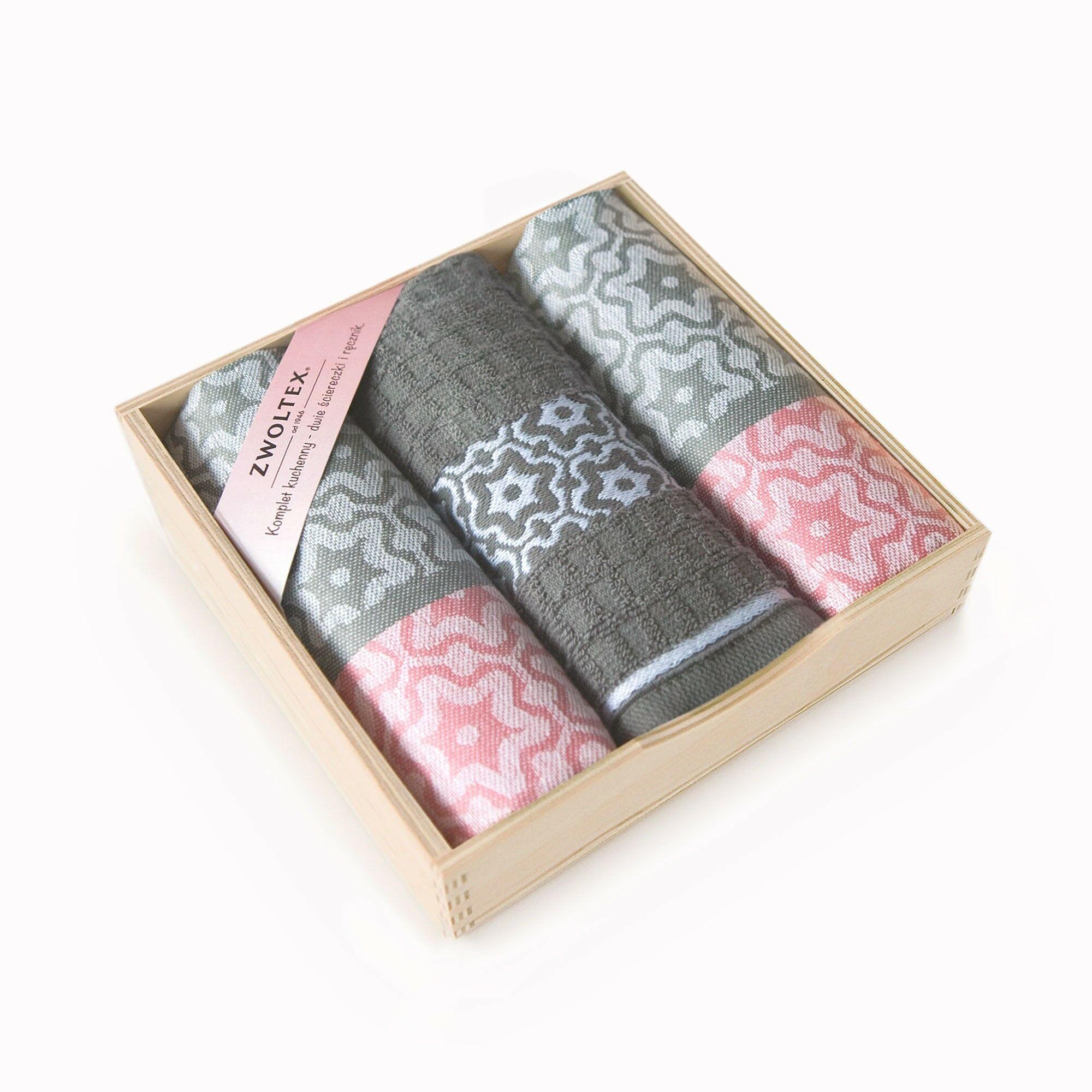 Komplet ścierek kuchennych Czapla 3szt Marsala szary różowy w drewnianym pudełku