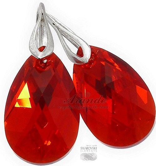 Kryształy Piękne Kolczyki Czerwone Srebro