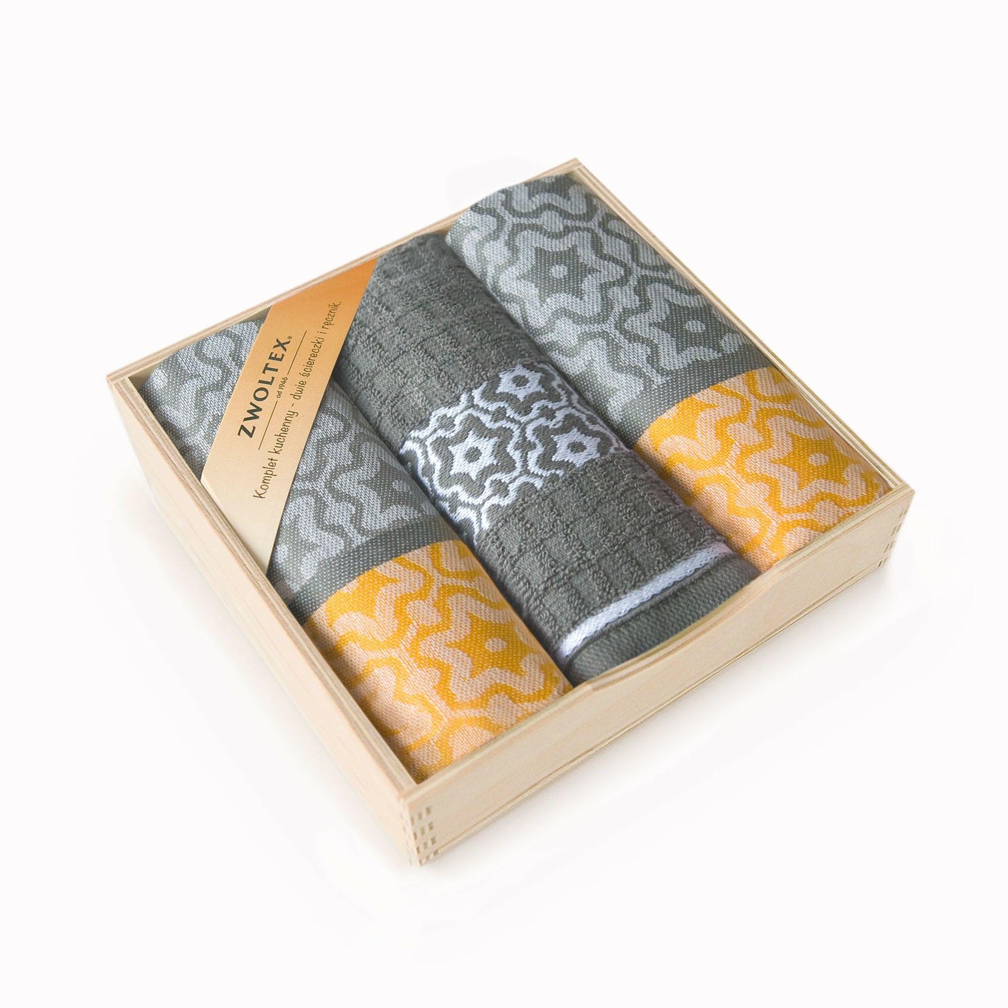 Komplet ścierek kuchennych Czapla 3szt Marsala szary żółty w drewnianym pudełku Zwoltex