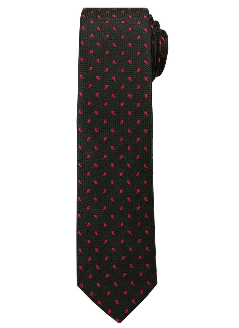 Czarny Elegancki Krawat -Angelo di Monti- 6 cm, Męski, w Czerwone Łezki KRADM1472