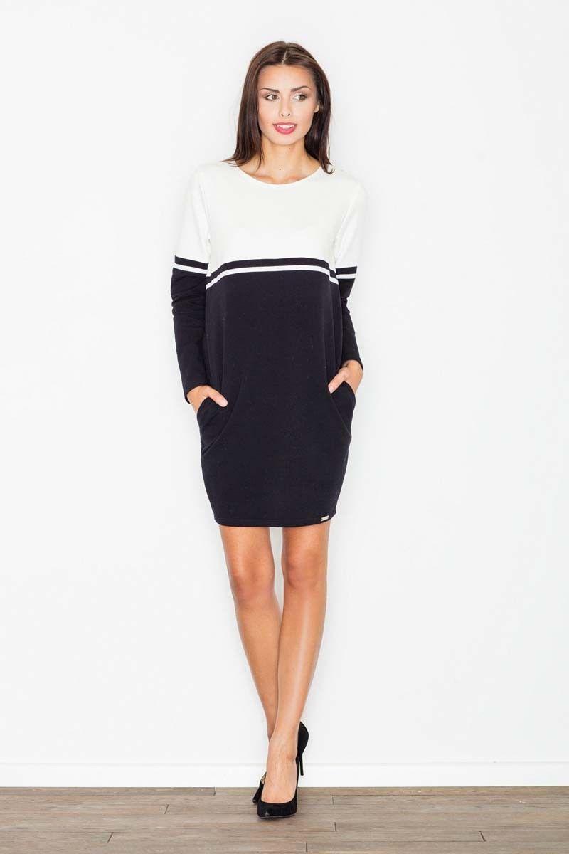 Biało-czarna sukienka pudełkowa górą