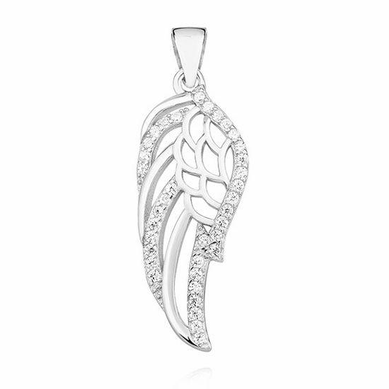 Delikatny rodowany srebrny wisiorek skrzydła skrzydełka cyrkonia cyrkonie srebro 925 Z1356C