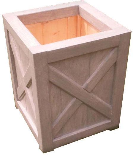 Drewniana kwadratowa wysoka donica ogrodowa - Solma