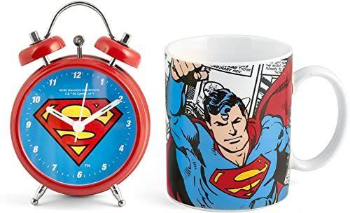 Home DC Comics, kubek Superman + budzik zegar czerwony / niebieski