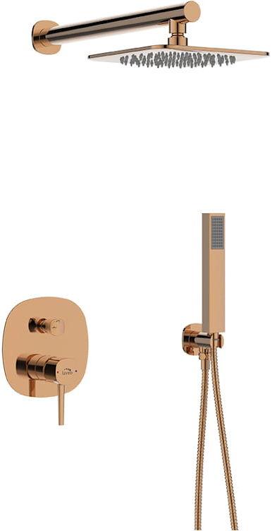 Laveo Bateria natryskowa podtynkowa z zestawem Polla BAP 801P różowe złoto