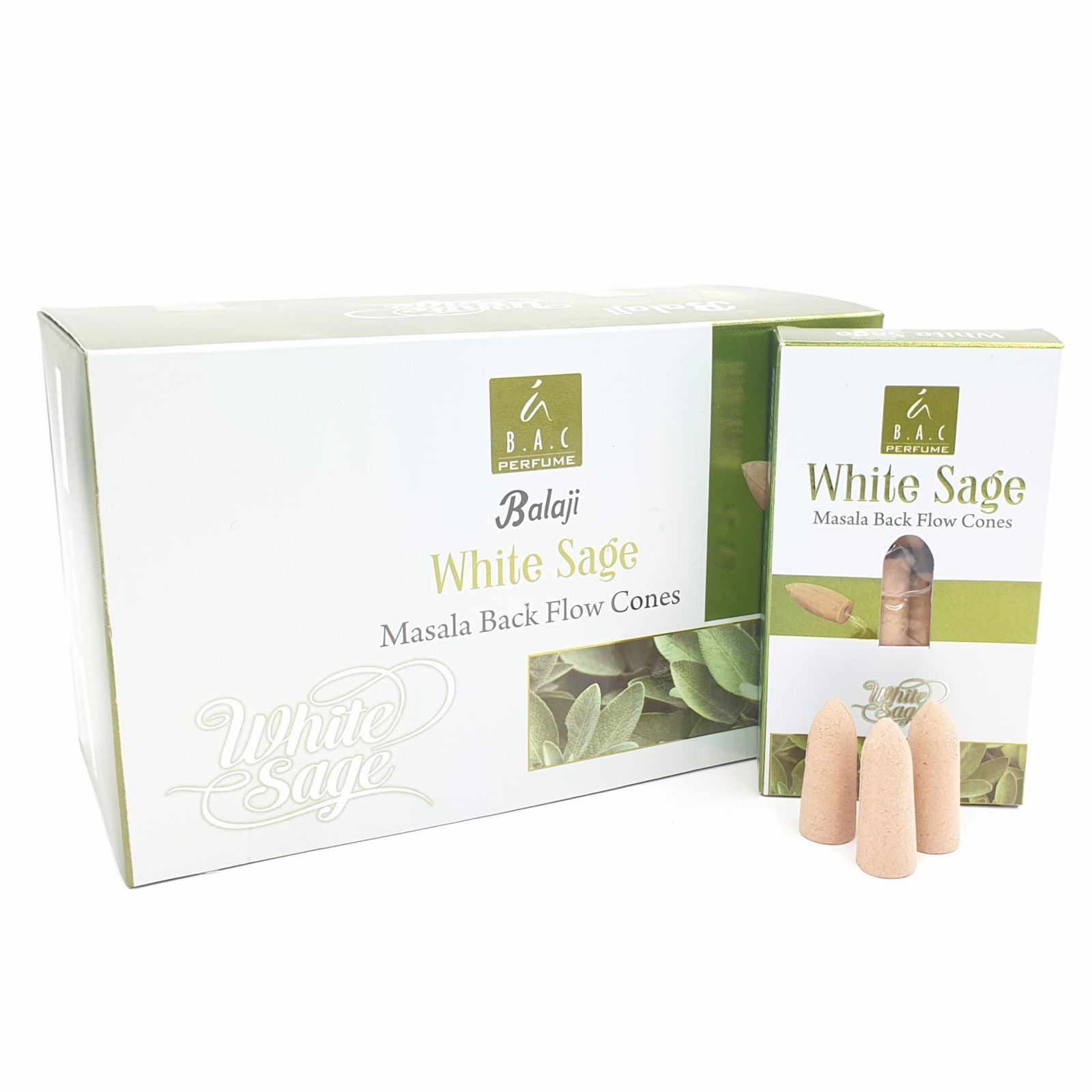 Kadzidełka BALAJI White Sage (biała szałwia) stożki back flow - 10 szt.
