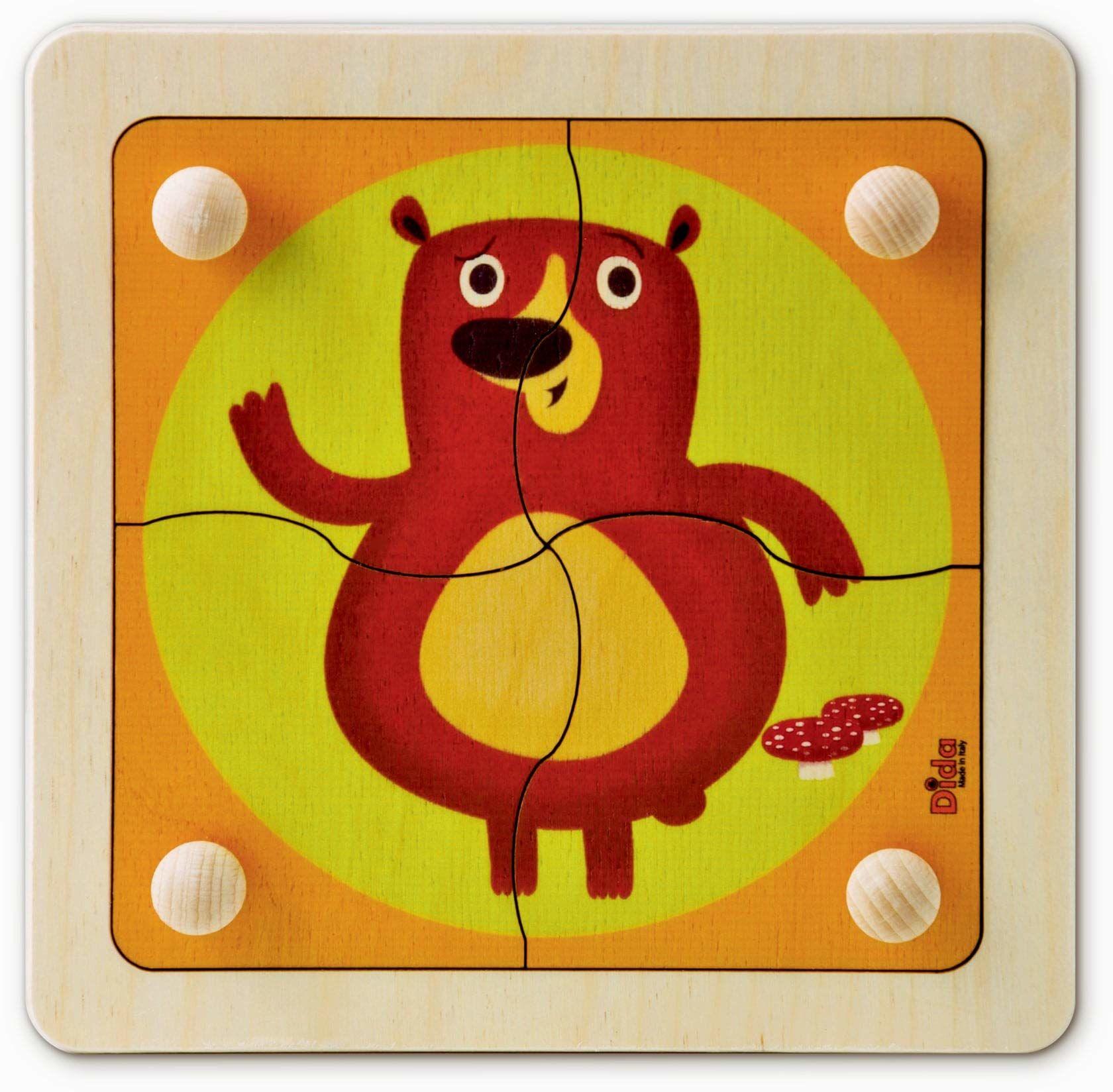 Dida P01BO drewniane puzzle, niedźwiedź, Primi Incastri