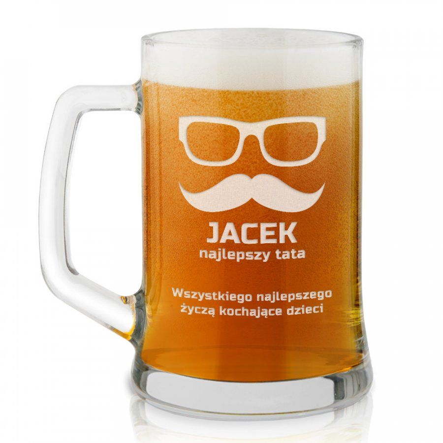 Kufel szklany do piwa z grawerem dla taty