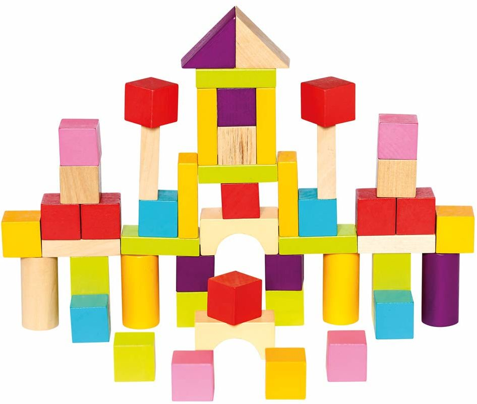 Mertens Bęben na klocki z 50 sztukami, zabawka dla dzieci od 1 roku życia (kolorowe i bogate w kształty, w tym 100 sztuk, rozmiar: XL, przykłady kształtów do stymulacji w pokrywie), wielokolorowy