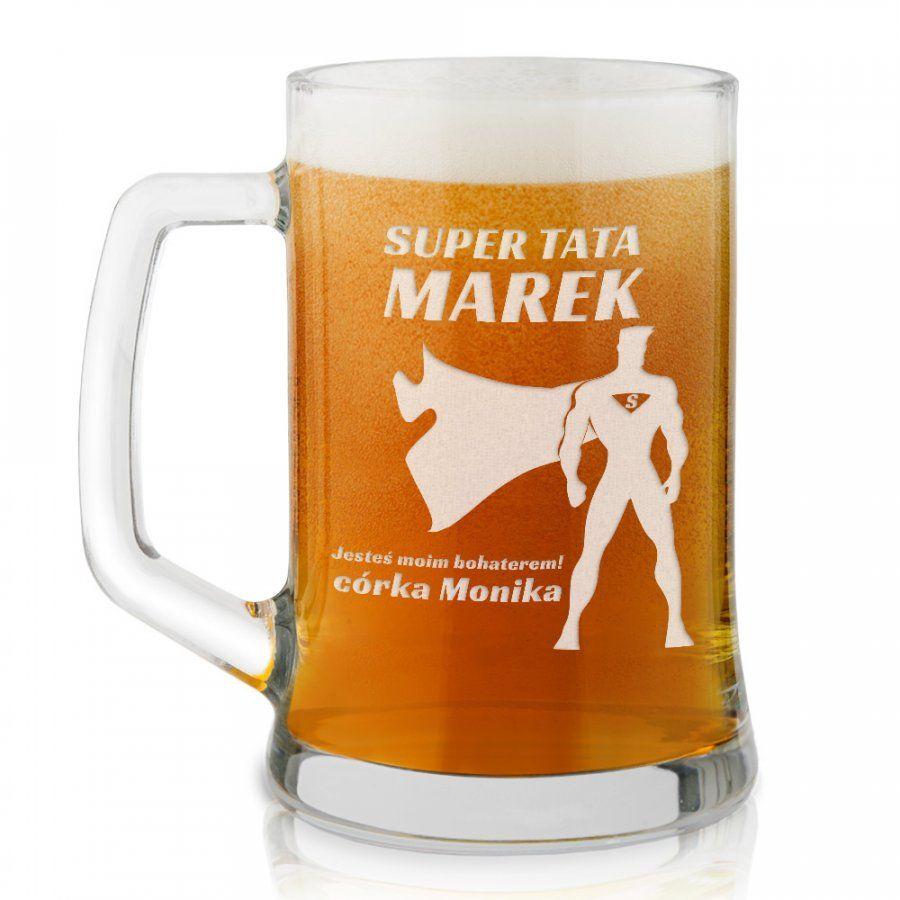 Kufel szklany do piwa z grawerem dla taty kinomana