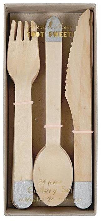Sztućce drewniane Srebrne M143416-Meri Meri, akcesoria na urodziny, przyjęcia