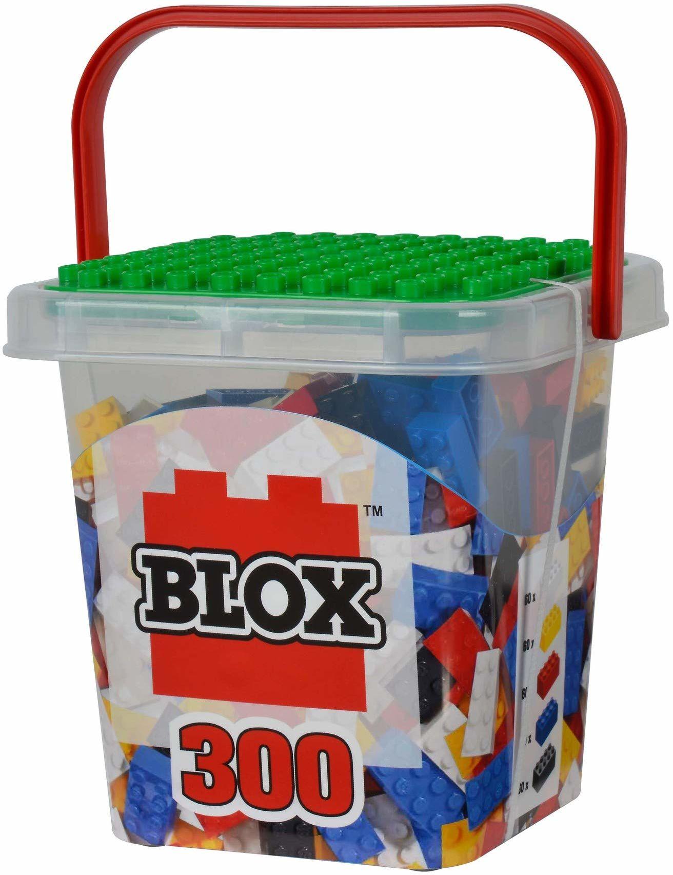 Simba 104114202  klocki Blox 300 dla dzieci w wieku od 4 lat, 8 sztuk w pudełku z kamienia z podstawą, w pełni kompatybilne, różne kolory, czarny, czerwony, biały, żółty, niebieski