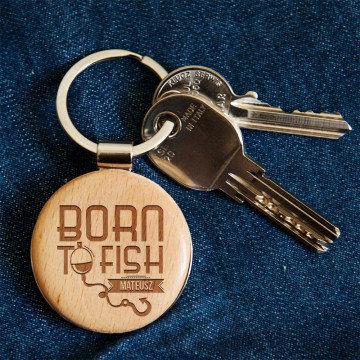 Born to fish - Brelok drewniany
