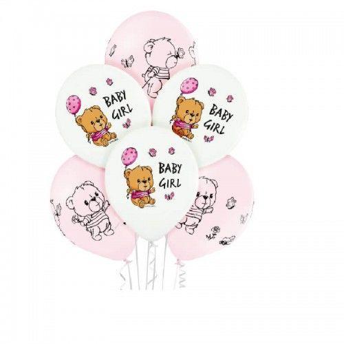 Balony dla dziewczynki Baby Girl Misie, 6 szt.