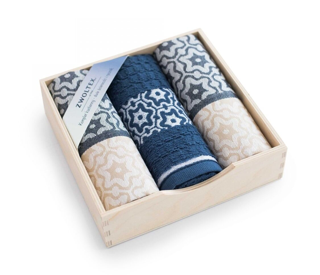 Komplet ścierek kuchennych Czapla 3szt Marsala beżowy indygo w drewnianym pudełku 8132/5+8189/5498 Zwoltex