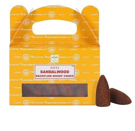 Kadzidełka SATYA Sandalwood (sandał) stożki back flow - 24 szt.