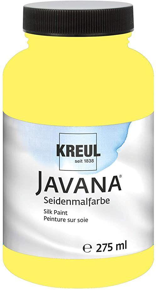 Kreul 8121-275 - Javana farba do malowania jedwabiu 275 ml, cytrynowy żółty, wysoko pigmentowany i olśniewający kolor na bazie wody, o płynnym charakterze, wnika głęboko w włókna