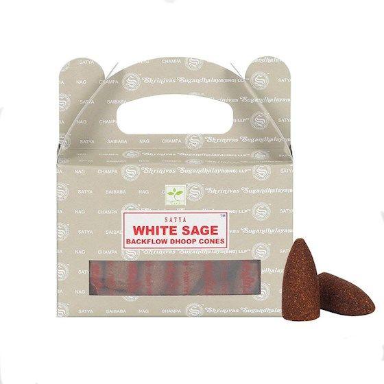 Kadzidełka SATYA White Sage (biała szałwia) stożki back flow - 24 szt.