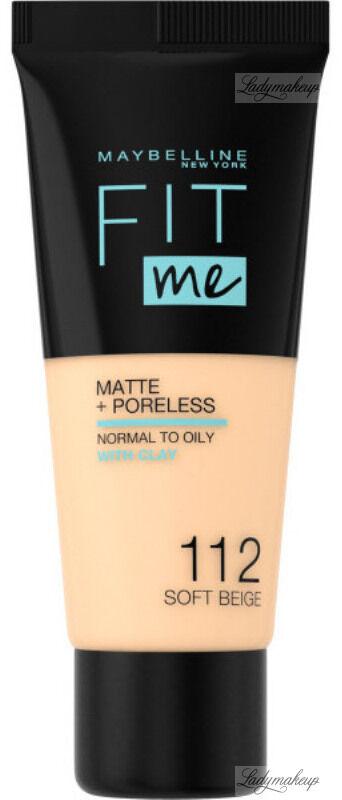 MAYBELLINE - FIT ME! Liquid Foundation For Normal To Oily Skin With Clay - Podkład matujący do twarzy z glinką - 112 SOFT BEIGE