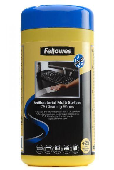 Fellowes ściereczki antybakteryjne do czyszczenia obudów - 75+25 szt. GRATIS