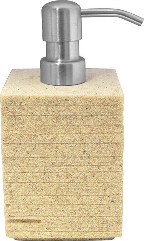 Grund BRICK dozownik mydła 8 x 8 x 16 cm ecru Accessoires, 100% żywica poliestrowa, 8 x 8 x 16 cm