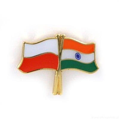 Flaga Polska - Indie, przypinka