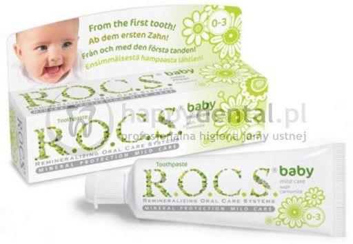 ROCS Baby RUMIANEK 35ml - wyjątkowo delikatna pasta na ząbkowanie dla dzieci do 3 lat