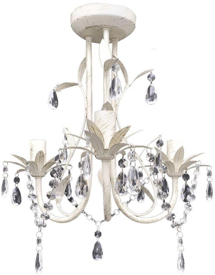 Biały szykowny żyrandol z kryształami - E970-Kings