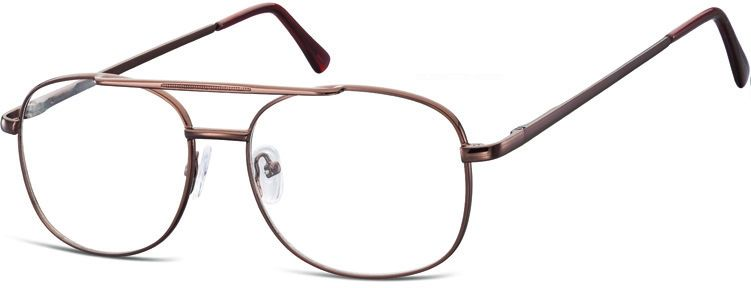 Pilotki zerówki Okulary Oprawki metalowe korekcyjne brązowe 792D