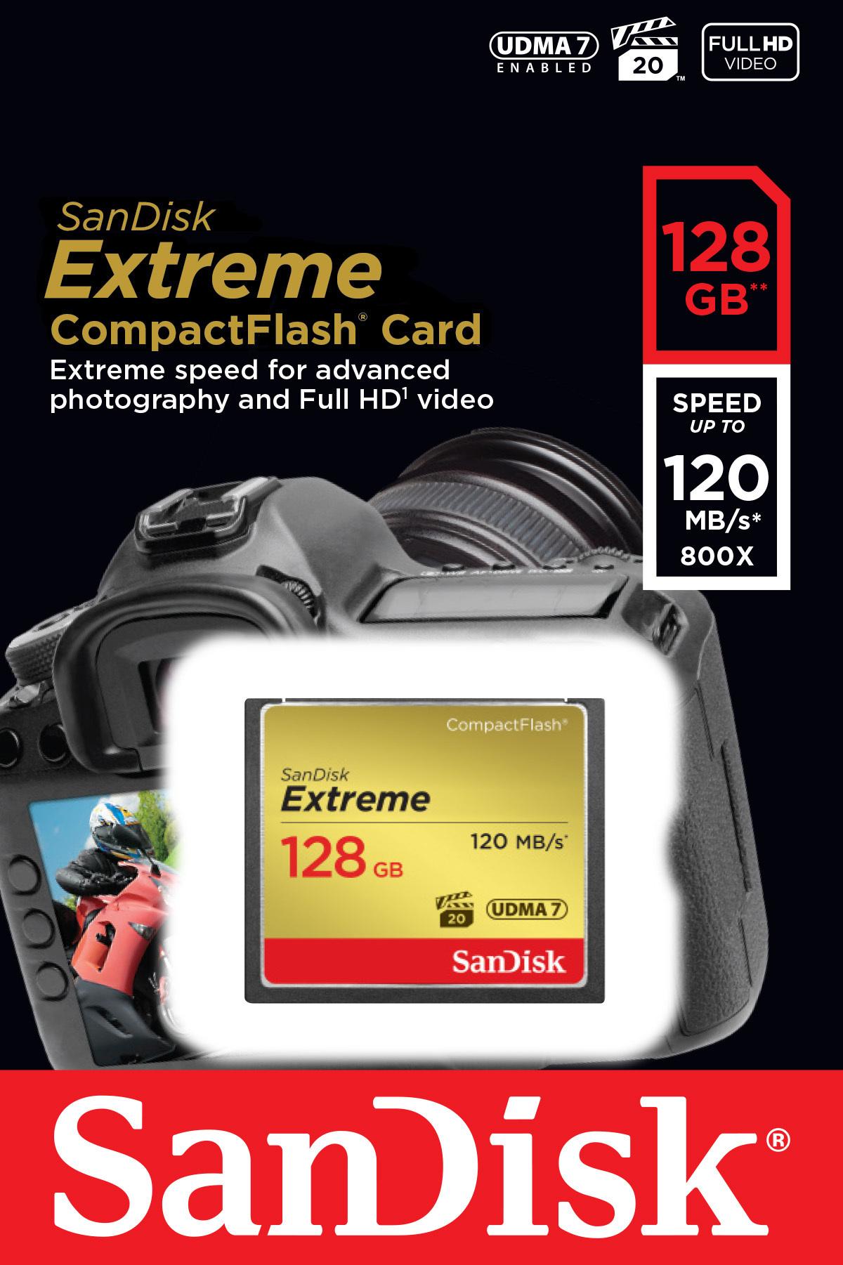 SanDisk SDCFXSB-128G-G46 - KARTA EXTREME CF 128GB 120MB/s SanDisk SDCFXSB-128G-G46