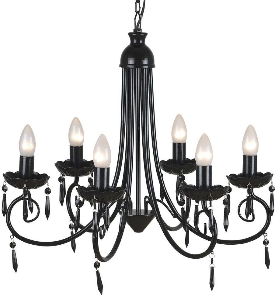 Czarny żyrandol stylizowany na świecznik - E973-Retri
