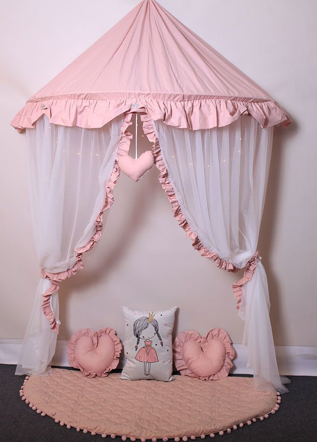 Różowo-biały baldachim dla dziecka z 3 poduszkami i matą - Sentopia 3X