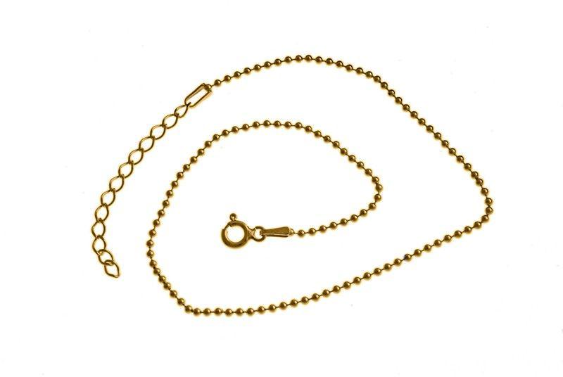Elegancka pozłacana srebrna bransoletka na nogę kulki kuleczki srebro 925 BN002