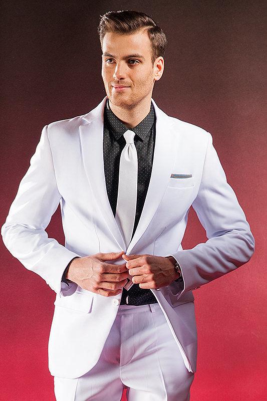 Biały garnitur ślubny Ghost