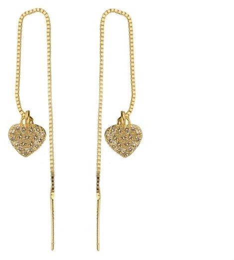 Przewlekane pozłacane wiszące srebrne kolczyki serca z cyrkoniami srebro 925 AE1894G