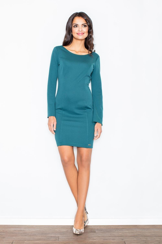 Ciemno-zielona prosta sukienka z dekoltem na plecach z długim rękawem