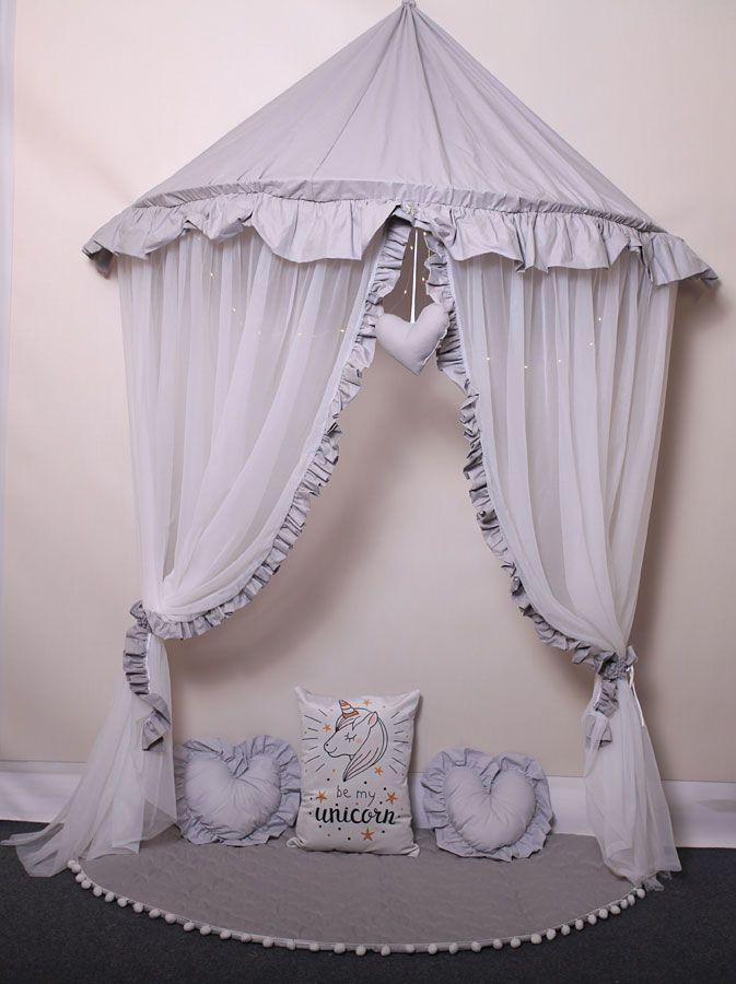 Szaro-biały baldachim dziecięcy z 3 poduszkami matą - Sentopia 3X